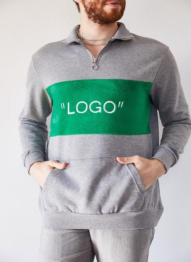 XHAN Gri Melanj Nakışlı Üç Iplik Sweatshirt 1Kxe8-44231-32 Gri